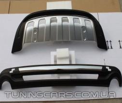 Накладка на передний + задний бампер для Audi Q7 ABS пластик, Ауди КУ7 (Комплект)