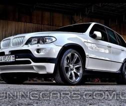 Накладка на передний бампер BMW X5 E53, Юбка передняя БМВ Е53 Х5