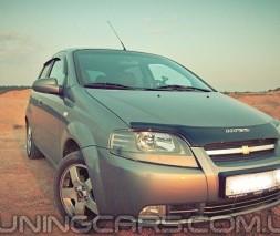 Дефлектор капота (мухобойка) Chevrolet Aveo с 2003-2006(седан) с 2003-2008 (х/б), (Шевроле Авео)