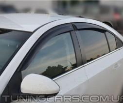 Дефлекторы окон Chevrolet Cruze Sd 2009+, 2012+, Ветровики Шевроле Крузе
