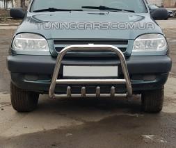 Защита переднего бампера для Chevrolet Niva (2002-2009) CVNV.02.F2-01 d60мм x 1.6