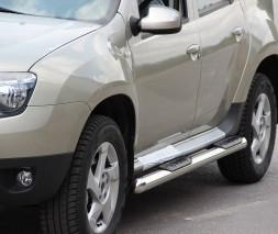 Пороги трубы с накладками для Dacia Duster (2010+) DCDS.10.S1-02 d60мм x 1.6