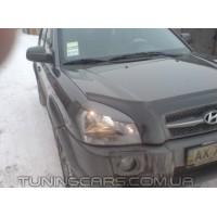Накладки на фары (реснички) Hyundai Tucson JM (с вырезом), Хюндай Туксон