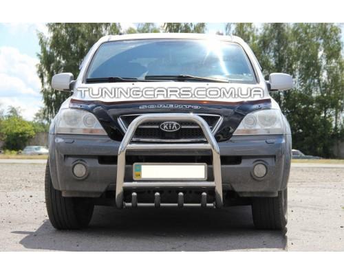 Защита переднего бампера для Kia Sorento (2002-2009) KASR.02.F2-02 d60мм x 1.6