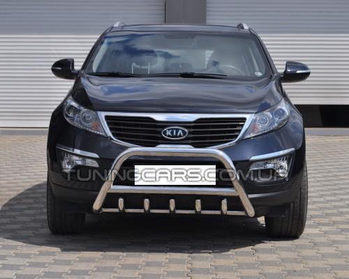 Защита переднего бампера для Kia Sportage (2004-2010) KASP.04.F1-03 d60мм x 1.6