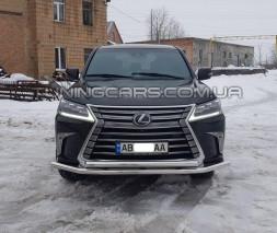 Защита переднего бампера для Lexus LX570 (2015+) F3-10 d60мм x 1.6
