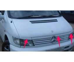 Верхняя планка над решеткой и реснички Mercedes Vito W638
