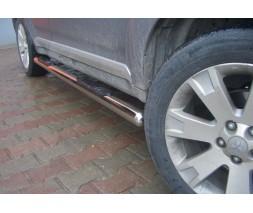 Пороги трубы с накладками для Mitsubishi Outlander (2006-2010) MHOU.06.S1-02 d60мм x 1.6