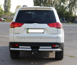 Защита заднего бампера (углы) для Mitsubishi Pajero Sport (2008-2015) MHPJ.08.B1-40 d60мм x 1.6