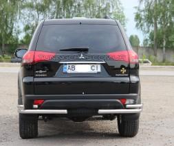 Защита заднего бампера (углы) для Mitsubishi Pajero Sport (2008-2015) MHPJ.08.B1-48 d60мм x 1.6
