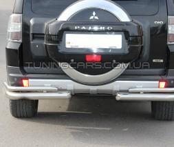 Защита заднего бампера (углы) для Mitsubishi Pajero Wagon 4 (2006+) MHWG.06.B1-12 d60мм x 1.6