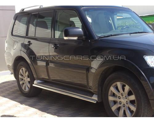 Обводка штатных порогов для Mitsubishi Pajero Wagon 4 (2006+) MHWG.06.S1-04 d42мм x 1.6