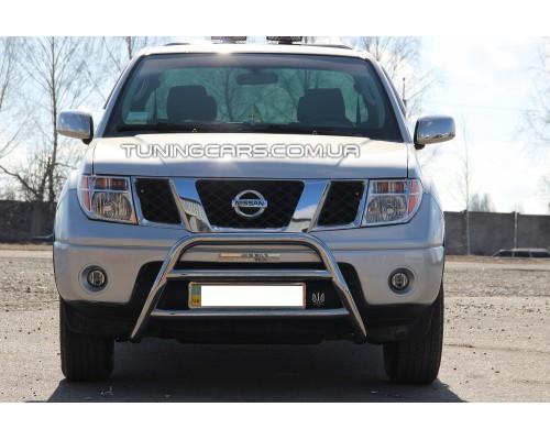 Защита переднего бампера для Nissan Navara (2005-2014) NSNV.05.F1-16 d60мм x 1.6