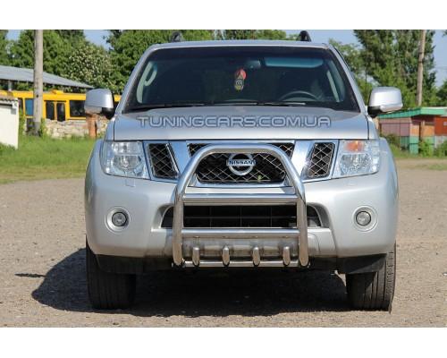 Защита переднего бампера для Nissan Pathfinder (2006-2013) NSPF.06.F2-02 d60мм x 1.6