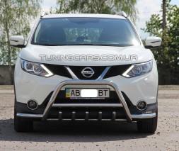 Защита переднего бампера для Nissan Qashqai J11 (2014+) NSQH.14.F1-07 d60мм x 1.6