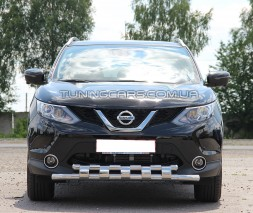 Защита переднего бампера для Nissan Qashqai J11 (2014+) NSQH.14.F3-12 d60мм x 1.6