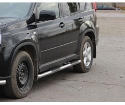 Пороги трубы с накладками для Nissan X-Trail T31 (2007-2014) NSXT.07.S1-02 d60мм x 1.6