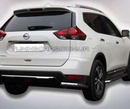Защита заднего бампера (углы) для Nissan X-Trail T32 (2014-2017) NSXT.13.B1-09 d60мм x 1.6