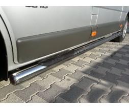 Пороги трубы с накладками для Opel Vivaro (2014+) NSPM.14.S1-02L длинная база d60мм x 1.6