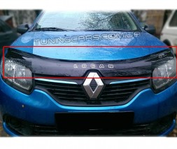 Дефлектор капота (мухобойка) для Renault Logan II с 2013 г.в.