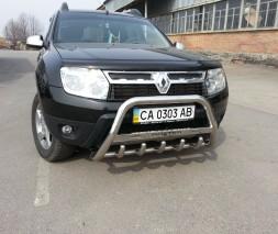Кенгурятник Dacia/Renault Duster [2010+] WT004 (с надписью)