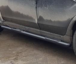 Пороги трубы с накладками для Subaru XV (2011-2017) SBXV.11.S1-02 (Чёрный) d60мм x 1.6