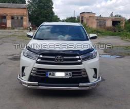 Защита переднего бампера для Toyota Highlander (2013-2019) TYXU.13.F3-29 d60мм x 1.6