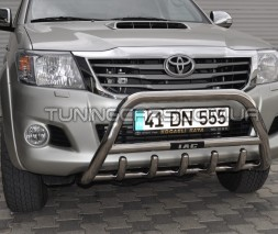 Защита переднего бампера для Toyota Hilux (2004-2015) TYHL.04.F1-03 d60мм x 1.6
