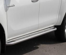 Пороги площадка для Toyota Hilux (2015+) TYHL.15.S2-01 d60мм x 1.6