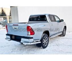 Защита заднего бампера (углы) для Toyota Hilux (2004-2015) TYHL.04.B1-52 d60мм x 1.6