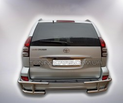 Защита заднего бампера (углы) для Toyota Land Cruiser Prado 120 (2002-2009) TYLC.02.B1-12M d60мм x 1.6
