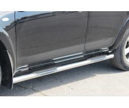 Пороги трубы с накладками для Toyota RAV4 XA 30 (2010-2012) TYRV.10.S1-02 d60мм x 1.6