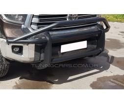 Защита переднего бампера для Toyota Tundra (2014+) TYTN.14.F1-75 (черная) d60мм x 1.6