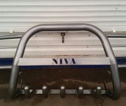 Защита переднего бампера для Нива ВАЗ 2121 с защитой картера и фар, с надписью Niva