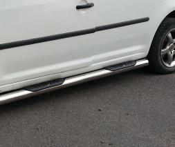 Пороги трубы с накладками для Volkswagen Caddy Type 2k (2004-2010) VWCD.04.S1-02 d60мм x 1.6