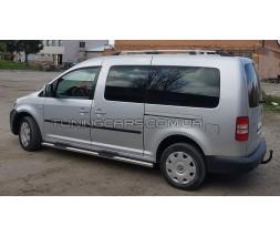 Пороги трубы с накладками для Volkswagen Caddy Type 2k (2010-2015) VWCD.10.S1-02M d60мм x 1.6