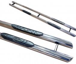 Пороги трубы с накладками для Toyota Tundra (2014+) TYTN.14.S1-02 d60мм x 1.6