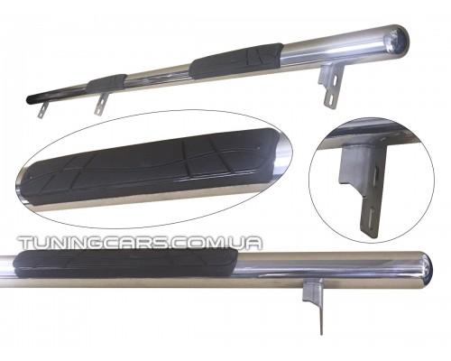 Пороги трубы с накладками для Kia Sportage (2004-2010) KASP.04.S1-02 d60мм x 1.6