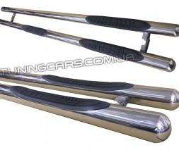 Пороги трубы с накладками для Chrysler Voyager (2002 - 2006) CRVG.02.S1-02 d70мм x 1.6