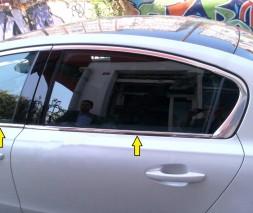 Нижняя окантовка стекол (SW, нерж) Peugeot 508 2010-2018
