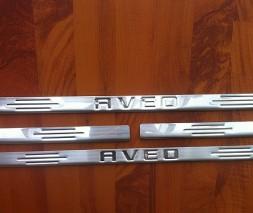 Накладки на пороги Carmos (4 шт, нерж.) Chevrolet Aveo T250 2005-2011