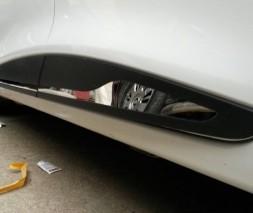 Renault Clio 4 Молдинг дверной (прямой) OmsaLine (4 шт, нерж.) черный хром