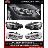 Передняя оптика LED (2 шт) Черная для BMW 3 серия F30 / 31 / 34 2012-2019