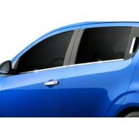 Нижние молдинги стекол (нерж) Sedan, Carmos - Турецкая сталь для Chevrolet Aveo T300 2011+