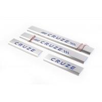 Накладки на пороги (4 шт, синие) для Chevrolet Cruze 2009+