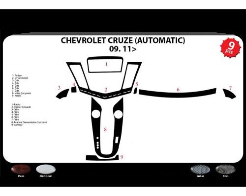 Накладки на панель (автомат) Дерево для Chevrolet Cruze 2009+