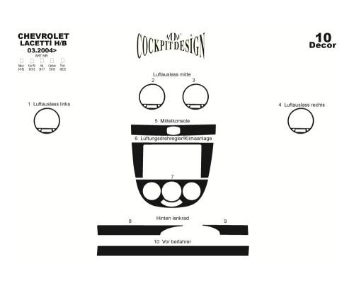 Накладки на панель Hatchback (Meric) Дерево для Chevrolet Lacetti