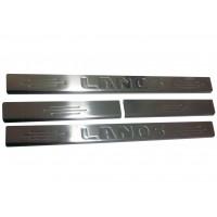 Пороги на карниз (Carmos, нерж.) для Chevrolet Lanos