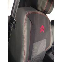 Авточехлы (ткань+кожзам, Premium) Передние для Citroen Berlingo 2008-2018