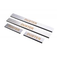 Накладки на пороги Carmos (4 шт, нерж.) для Dacia Duster 2008-2018